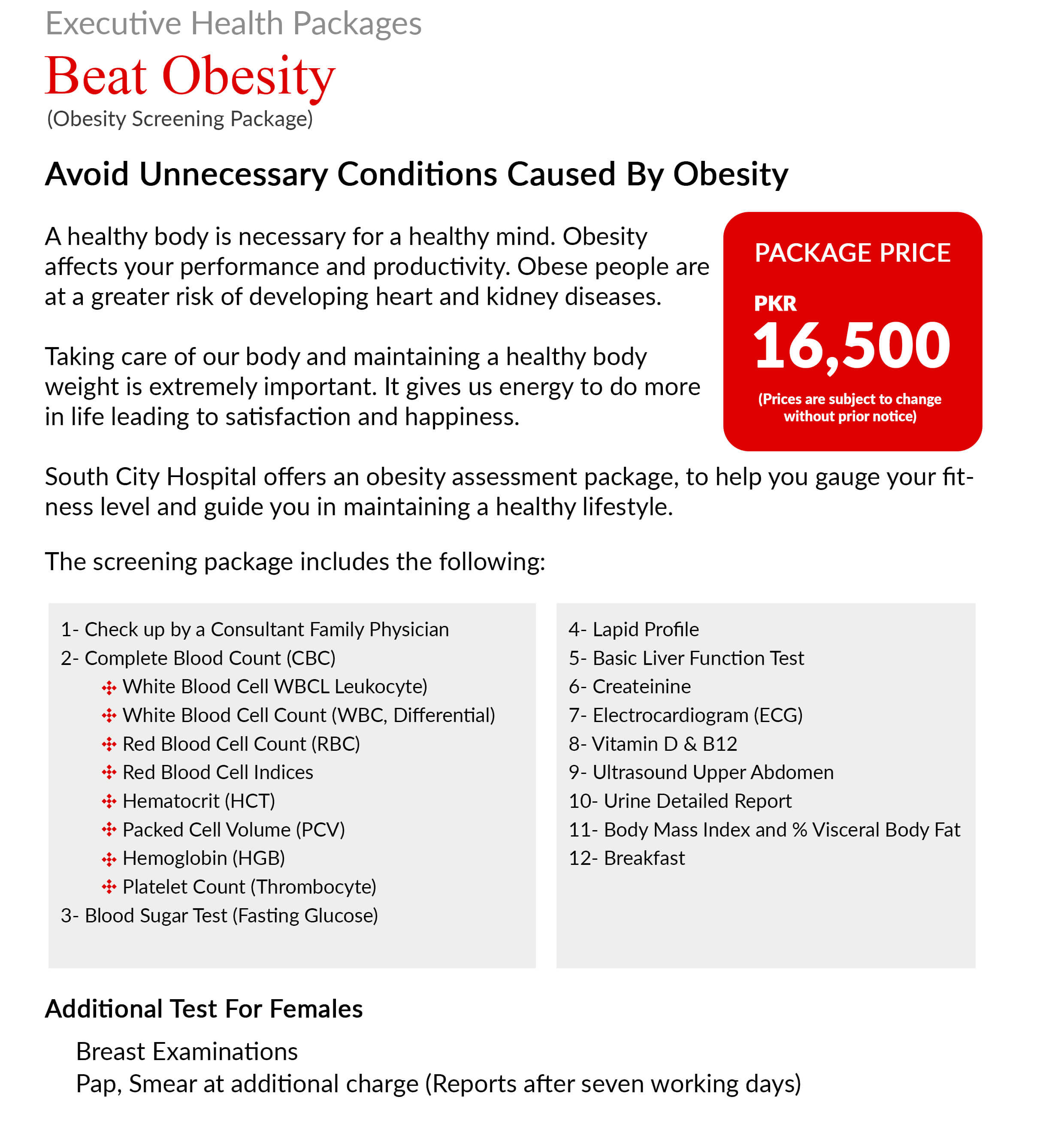 obesity screening package